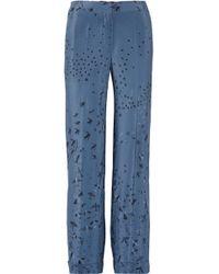 Valentino - Swallow Metamorphosis Printed Silk Crepe De Chine Wide-leg Pants - Lyst