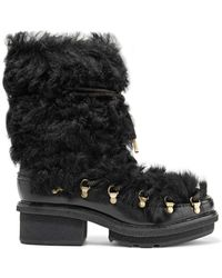3.1 Phillip Lim - Mallory Shearling And Glossed-leather Boots - Lyst