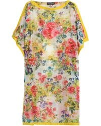 Dolce & Gabbana Satin-trimmed Floral-print Cotton And Silk-blend Coverup Yellow