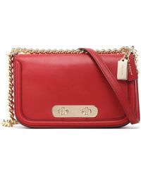 COACH - Chain-trimmed Leather Shoulder Bag - Lyst