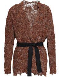 Brunello Cucinelli - Woman Jacquard-knit Cardigan Brown - Lyst