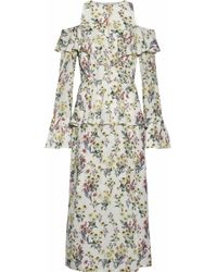 Mother Of Pearl - Cold-shoulder Ruffled Floral-print Silk-georgette Midi Dress - Lyst