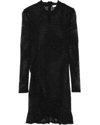 IRO - Fabyh Ruffle-trimmed Open-knit Cotton-blend Mini Dress - Lyst