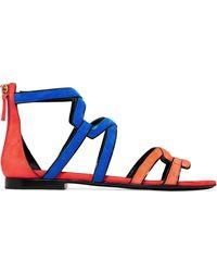 Pierre Hardy - Color-block Cutout Suede Sandals - Lyst
