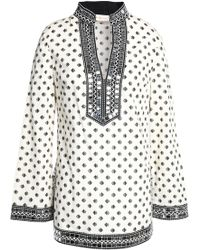 Tory Burch - Embellished Printed Cotton-poplin Tunic - Lyst