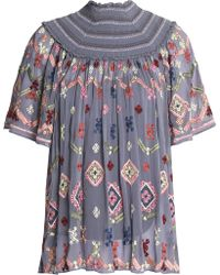 Needle & Thread - Smocked Embroidered Crepe De Chine Blouse - Lyst