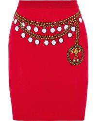 Moschino - Intarsia Cotton Mini Skirt - Lyst