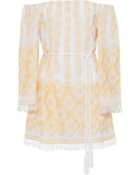 Miguelina - Brinley Off-the-shoulder Embroidered Cotton Coverup - Lyst