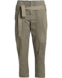 Brunello Cucinelli - Belted Cotton-blend Twill Straight-leg Pants Army Green - Lyst