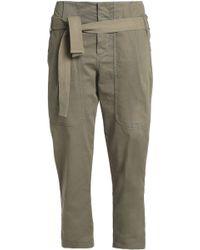 Brunello Cucinelli - Belted Cotton-blend Twill Straight-leg Pants - Lyst