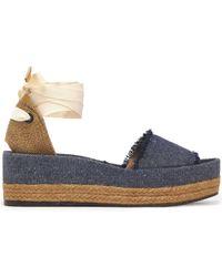 Castaner - Estela Woven Canvas And Frayed Denim Platform Sandals - Lyst