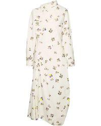 Acne Studios - Dragica Asymmetric Floral-print Cotton-corduroy Midi Dress - Lyst