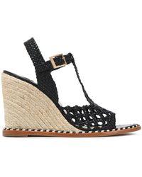 Paloma Barceló - Cutout Braided Leather Wedge Platform Sandals - Lyst