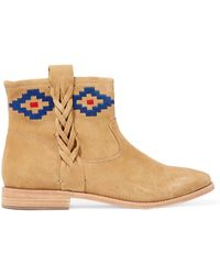 Soludos - Embroidered Nubuck Ankle Boots - Lyst