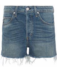 AMO - Babe Distressed Denim Shorts Mid Denim - Lyst