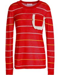 Sonia Rykiel - Ruffle-trimmed Striped Cotton And Silk-blend Jumper - Lyst