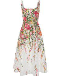 Lela Rose - Flared Cloqué-jacquard Midi Dress - Lyst