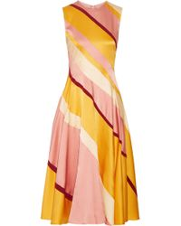 Roksanda Woman Lucine Striped Hammered Silk-satin Midi Dress Yellow Size 10 Roksanda Ilincic Outlet For Sale vF9UHp