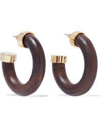 Kenneth Jay Lane - Gold-tone Wood Hoop Earrings - Lyst