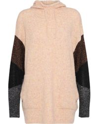 By Malene Birger - Woman Brunilde Metallic-paneled Knitted Hoodie Peach - Lyst