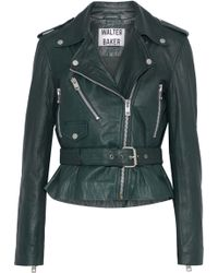 W118 by Walter Baker - Celina Leather Biker Jacket Dark Green - Lyst