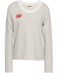 Monrow - Printed French Supima Cotton-blend Terry Sweatshirt Ivory - Lyst