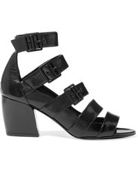 Pierre Hardy - Parallele Buckled Glossed Textured-leather Sandals - Lyst
