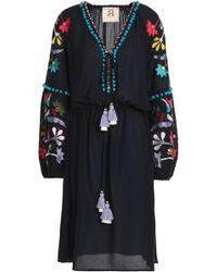 Figue - Victoria Embellished Cotton-blend Gauze Dress Midnight Blue - Lyst