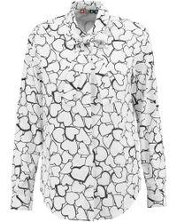 MSGM - Printed Cotton-poplin Shirt - Lyst