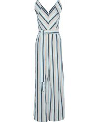 Lela Rose - Knotted Striped Seersucker Jumpsuit - Lyst
