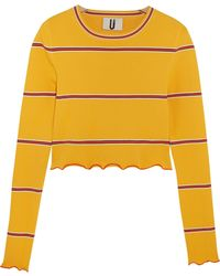 Topshop Unique - Margot Striped Stretch-knit Top - Lyst