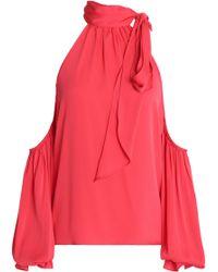 MILLY - Cold-shoulder Silk-blend Blouse - Lyst
