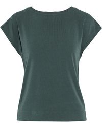 By Malene Birger - Draped Cutout Crepe Shirt Forest Green - Lyst