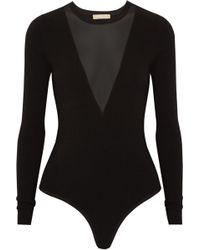 Michael Kors - Mesh-paneled Stretch-jersey Bodysuit - Lyst