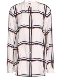 Equipment - Checked Silk Top - Lyst