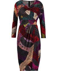 Just Cavalli - Wrap-effect Draped Snake-print Jersey Dress - Lyst