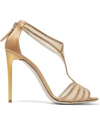Giorgio Armani - Mesh-paneled Crystal-embellished Suede Sandals - Lyst