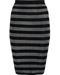 1901d0f1645d47 Alexander Wang - Metallic Striped Wool-blend Skirt Black - Lyst