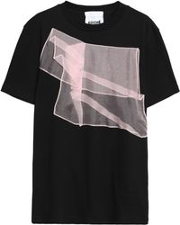 Koche - Silk Organza-trimmed Cotton-jersey T-shirt - Lyst