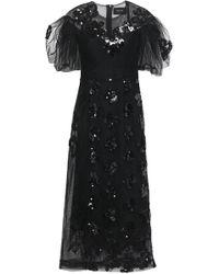 Simone Rocha - Woman Frayed Embellished Tulle Midi Dress Black - Lyst