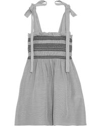 Paul & Joe - Bow-detailed Smocked Striped Voile Top - Lyst
