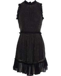 Love Sam - Woman Bead-embellished Georgette Mini Dress Black - Lyst