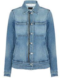 RTA | Distressed Zip-detailed Denim Jacket Mid Denim | Lyst