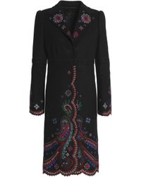Roberto Cavalli - Woman Embroidered Wool-blend Coat Black - Lyst