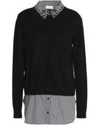 Claudie Pierlot - Marylou Layered Gingham Poplin And Cotton-blend Sweater - Lyst