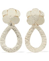 Kenneth Jay Lane - Hammered Gold-tone Earrings - Lyst