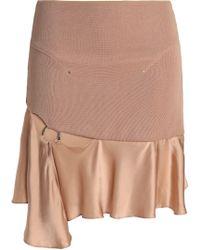Esteban Cortazar - Woman Cutout Embellished Satin And Stretch-knit Mini Skirt Sand - Lyst