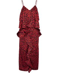 Goen.J - Ruffled Leopard-print Satin Midi Dress - Lyst