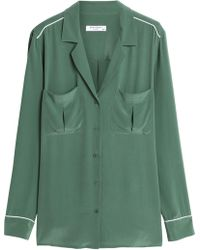 Equipment - Sonny Washed-silk Shirt Forest Green - Lyst