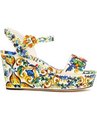Dolce & Gabbana - Embellished Printed Jacquard Wedge Sandals - Lyst